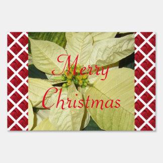 Christmas Poinsettia - White Sign
