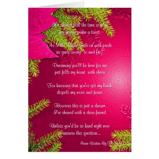 Christmas Poinsettia Will You Be My Bridesmaid Card