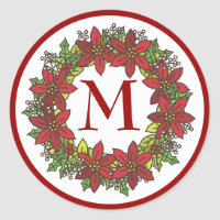 Christmas Poinsettia Wreath Monogram Envelope Seal