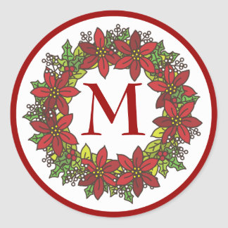 Christmas Poinsettia Wreath Monogram Envelope Seal