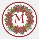 Christmas Poinsettia Wreath Monogram Envelope Seal Classic Round Sticker
