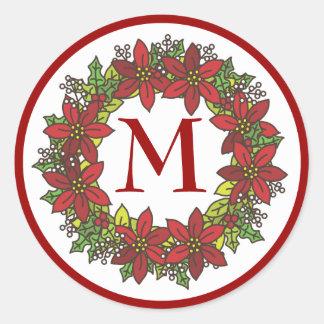 Christmas Poinsettia Wreath Monogram Envelope Seal Sticker