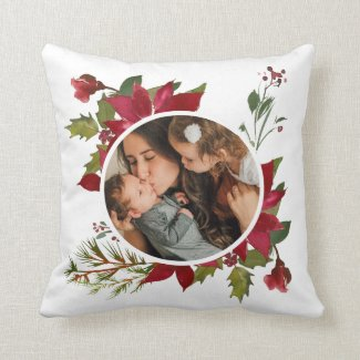 Christmas Poinsettia Wreath Photo Throw Pillow