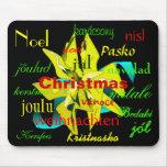 Christmas Poinsettia Yellow Green Around The World Mouse Pad