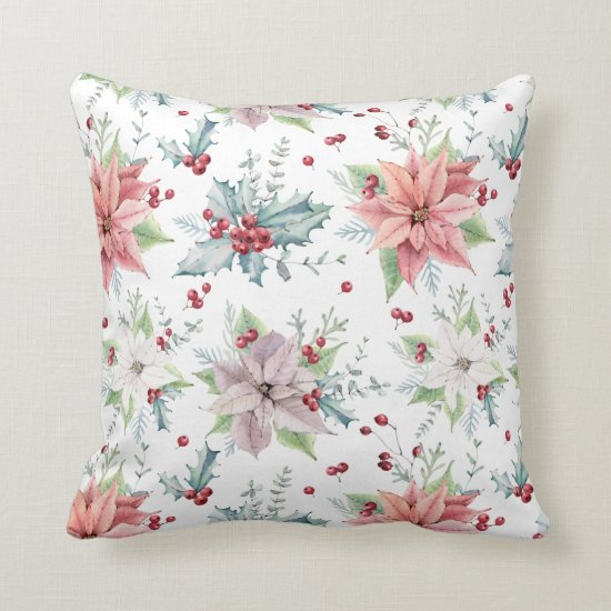 Christmas Poinsettias Holly Leaves Berries Throw Pillow