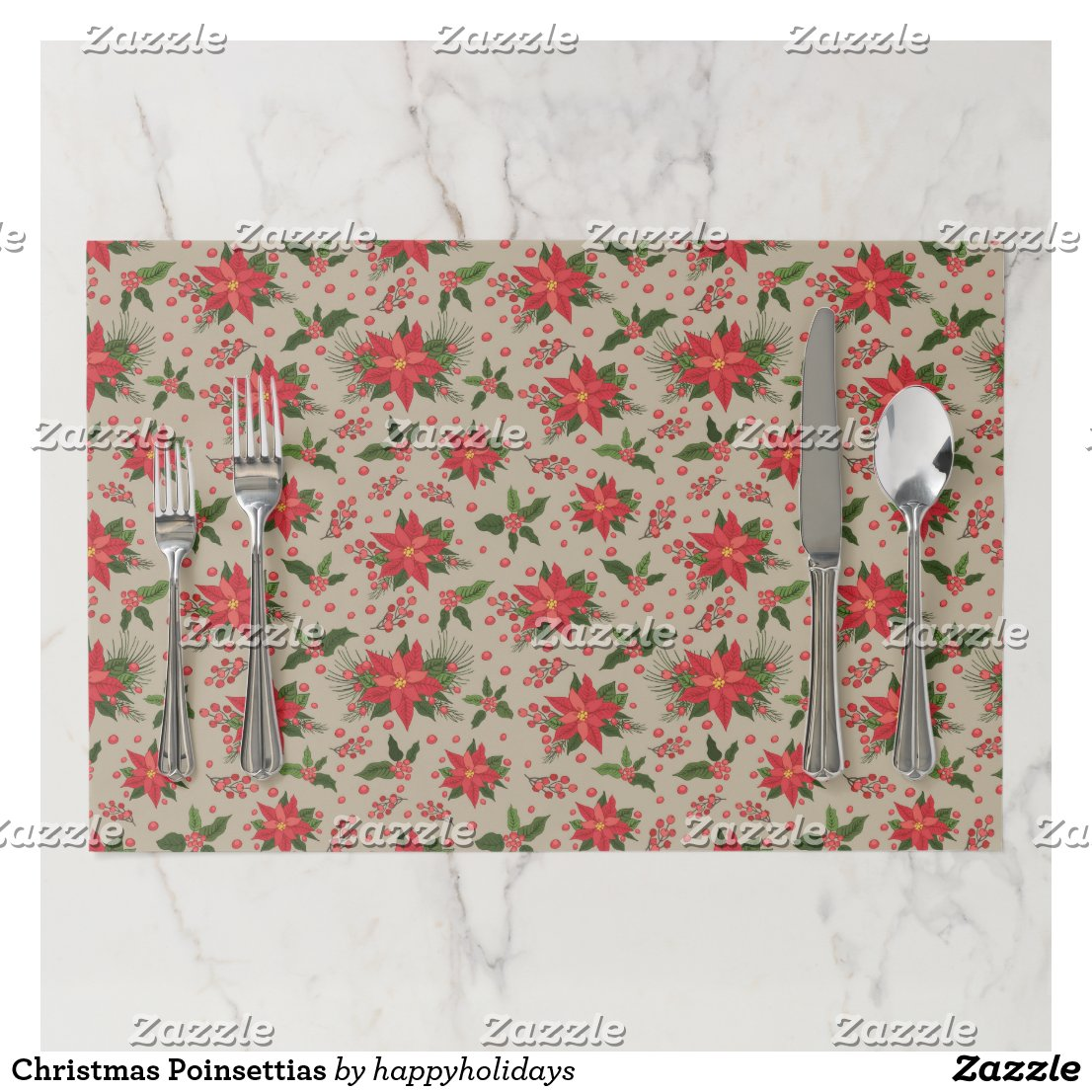 Christmas Poinsettias Paper Placemat
