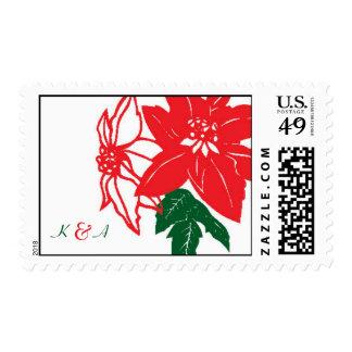 Christmas Poinsettias (Red) Wedding Postage