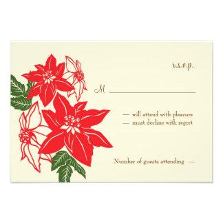 Christmas Poinsettias (Vintage) Wedding RSVP Card