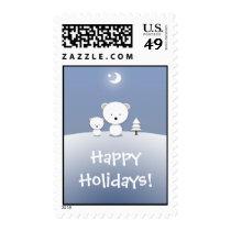 Christmas Polar Bear Kawaii Postage Stamps