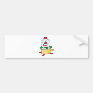 Christmas Polar Bear Popping Out Of A Gift Box Bumper Sticker