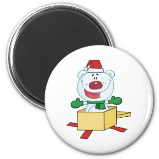 Christmas Polar Bear Popping Out Of A Gift Box Refrigerator Magnet