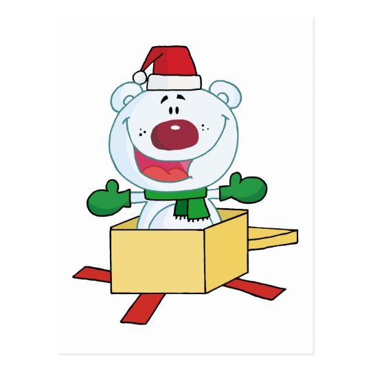Christmas Polar Bear Popping Out Of A Gift Box Postcard