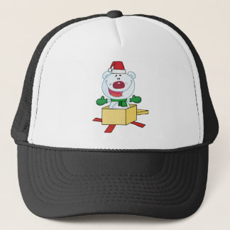 Christmas Polar Bear Popping Out Of A Gift Box Trucker Hat