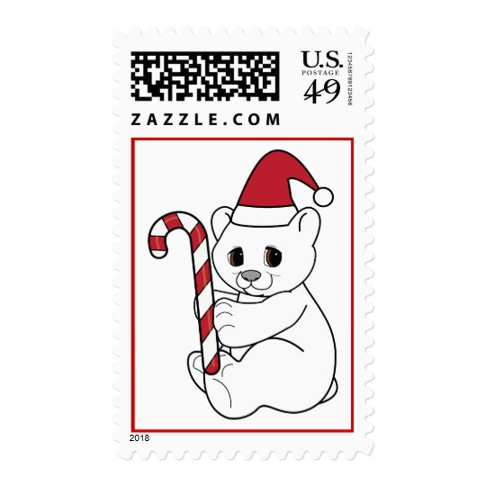 Christmas Polar Bear  with Candy Cane Postage
