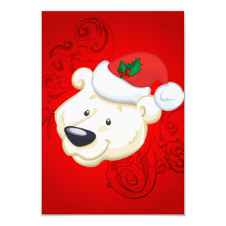 Christmas polar bear with red background 3.5x5 paper invitation card