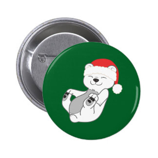 Christmas Polar Bear with Red Santa Hat 2 Inch Round Button