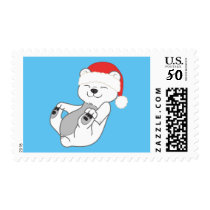 Christmas Polar Bear with Red Santa Hat Postage