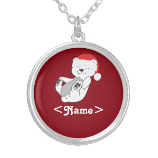Christmas Polar Bear with Red Santa Hat Round Pendant Necklace