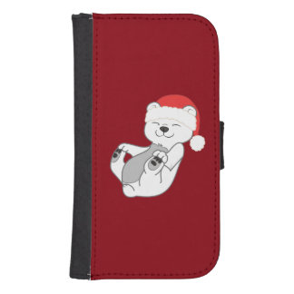 Christmas Polar Bear with Red Santa Hat Wallet Phone Case For Samsung Galaxy S4
