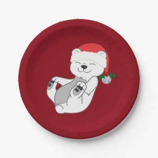 Christmas Polar Bear with Santa Hat & Jingle Bell 7 Inch Paper Plate
