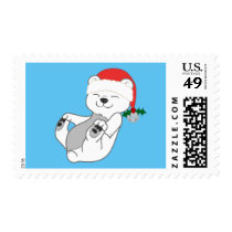 Christmas Polar Bear with Santa Hat & Jingle Bell Postage