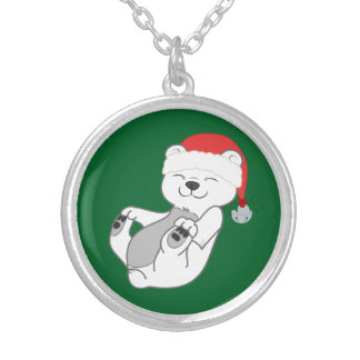 Christmas Polar Bear with Santa Hat & Jingle Bell Round Pendant Necklace