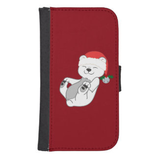 Christmas Polar Bear with Santa Hat & Jingle Bell Samsung S4 Wallet Case
