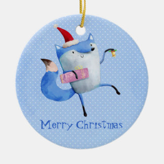 Christmas Polar Fox Ceramic Ornament