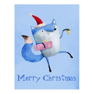 Christmas Polar Fox Postcard