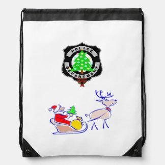 Christmas Police Dept Drawstring Backpack