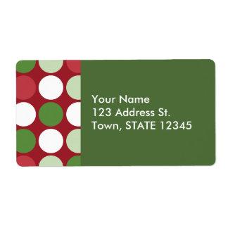 Christmas Polka Dot Pattern Label