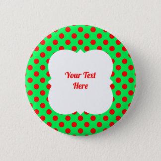 Christmas polka dot red/green pinback button