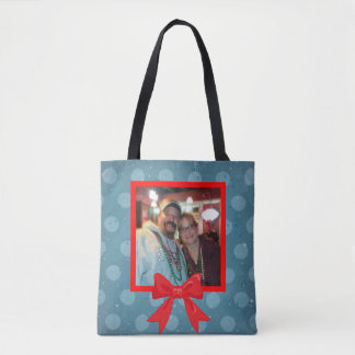 Christmas Polka Dot with Red Bow Tote Bag