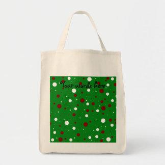 Christmas polka dots grocery tote bag