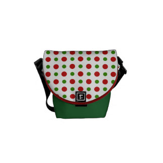 Christmas Polka dots in green and red Courier Bag
