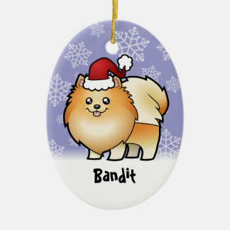 Christmas Pomeranian (add your pets name) Ceramic Ornament
