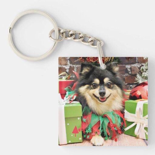 Christmas - Pomeranian - Bella Double-Sided Square Acrylic Keychain