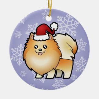 Christmas Pomeranian Ceramic Ornament