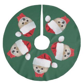 Christmas, Pomeranian Dog, Santa Hat Brushed Polyester Tree Skirt