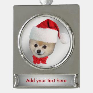 Christmas, Pomeranian Dog, Santa Hat, Customizable Silver Plated Banner Ornament
