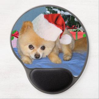 Christmas, Pomeranian Dog, Santa Hat Gel Mouse Mat