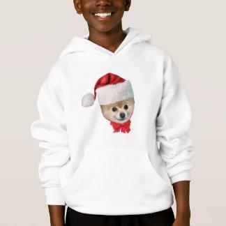 Christmas, Pomeranian Dog, Santa Hat Hoodie