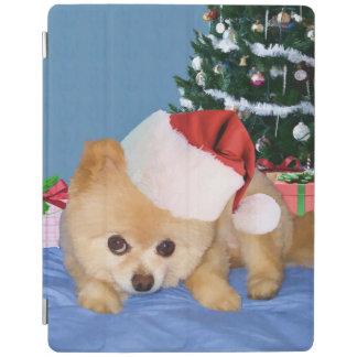 Christmas, Pomeranian Dog, Santa Hat iPad Smart Cover
