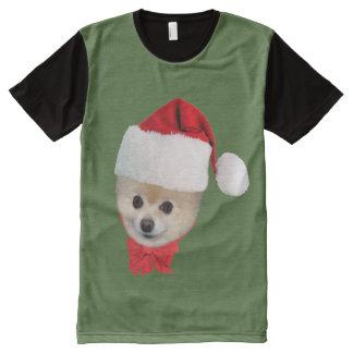 Christmas, Pomeranian Dog, Santa Hat All-Over Print T-shirt