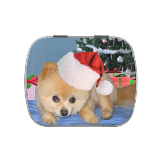 Christmas, Pomeranian Dog, Santa Hat Jelly Belly Tin