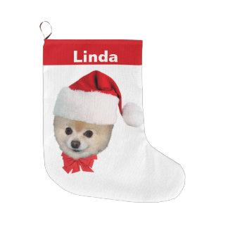 Christmas, Pomeranian Dog, Santa Hat, Name Large Christmas Stocking