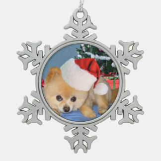 Christmas, Pomeranian Dog, Santa Hat Snowflake Pewter Christmas Ornament