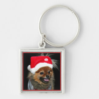 Christmas pomeranian dog Silver-Colored square keychain