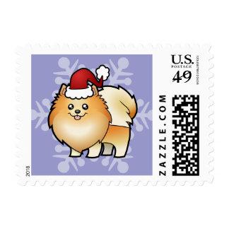 Christmas Pomeranian Stamp