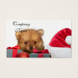 Christmas Pomeranian puppy Business Card